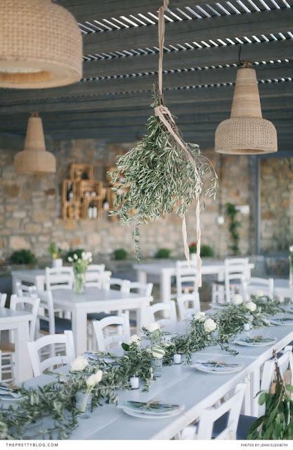 deco mesa boda hoja olivo