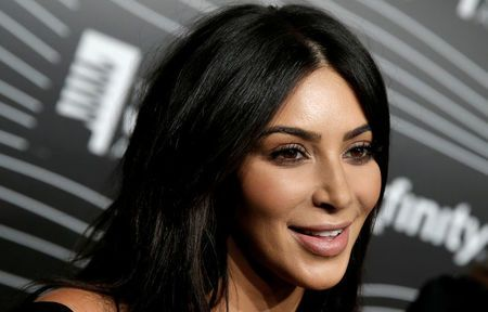 Kim Kardashian West participates in a television interview as she arrives for the 20th Annual Webby Awards in Manhattan, New York, U.S.
