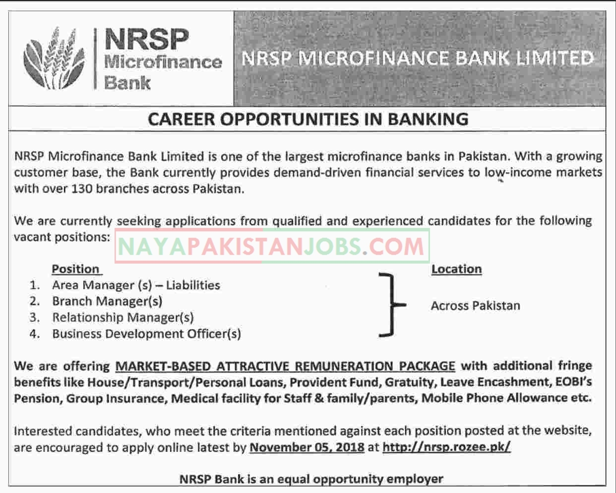 Latest Vacancies Announced in NRSP Microfinance Bank Limited 29 October 2018 - Naya Pakistan