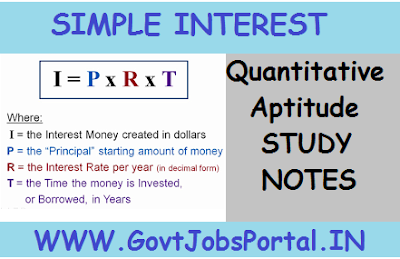 Simple Interest Quantitative Aptitude Study Notes for Bank Exam
