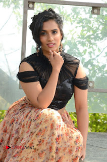 Actress Chetana Uttej Stills in Floral Long Skirt at Pichiga Nachav Movie Press Meet  0037.JPG