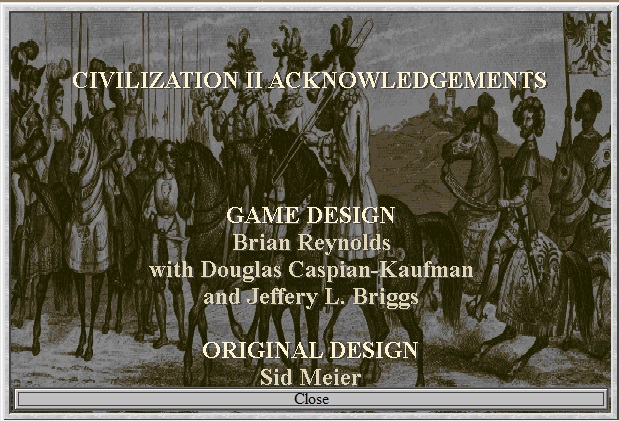 Screenshot of Credits from Sid Meier's Civilization II