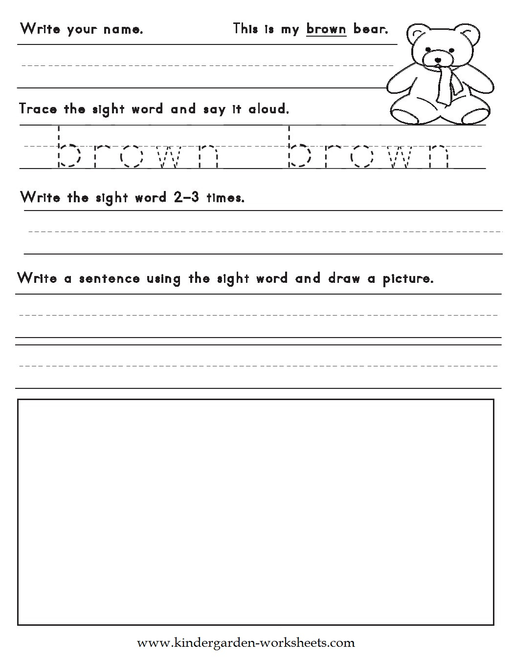 Kindergarten Worksheets Color Words Worksheets