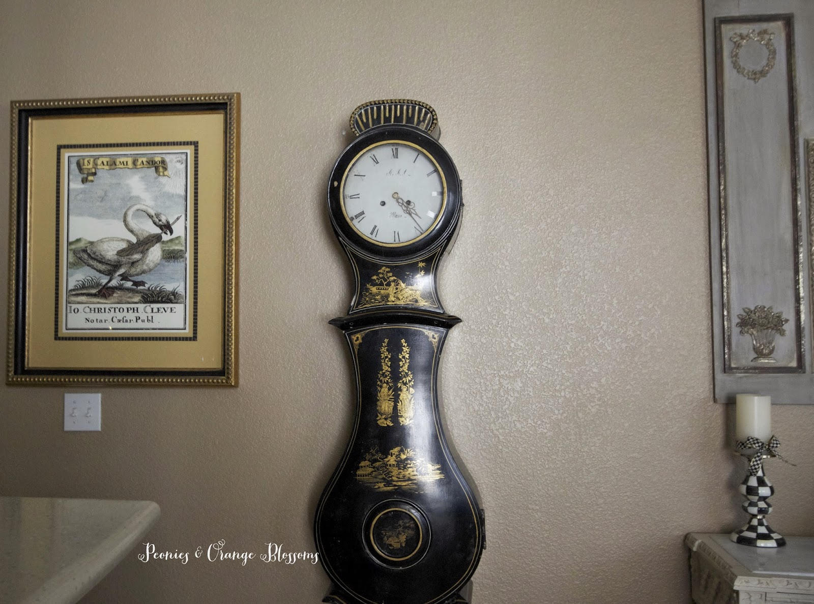 Chinoiserie Black Antique Mora Clock at Peonies & Orange Blossoms