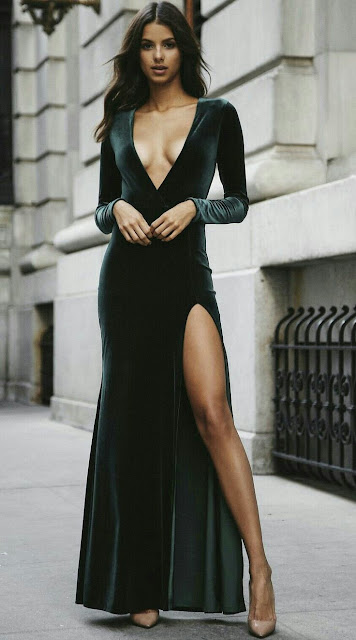 V neck Black Dress