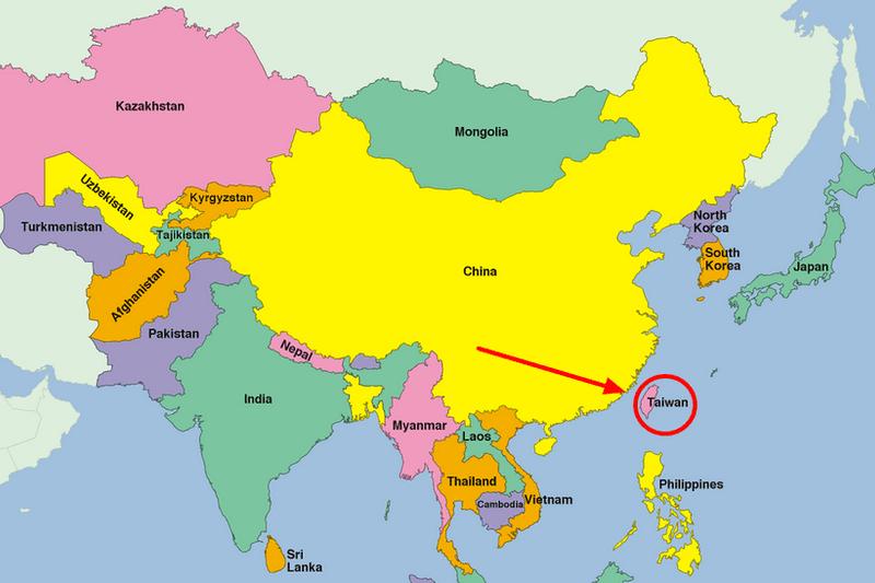 Vị trí Đài Loan ở khu vực châu Á