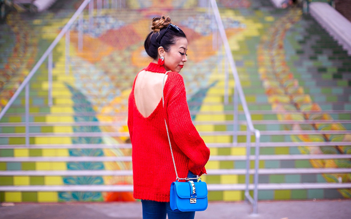chicwish cutout sweater, red cutout sweater, cutout sweater, baublebar earrings, up do, valentino lock bag, christian louboutin so kate pumps, blank denim jeans, fall essential, fall fashion, san francisco fashion blog, san francisco street style, fall must haves