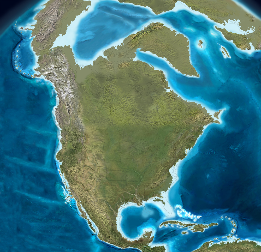 North America coastline at the last Ice Age