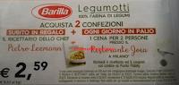Logo Barilla e i Legumotti ti regalano subito il ricettario e vinci cene per 2 persone