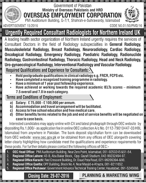 Consultant Radiologists Jobs for Pakistanis in Northern Ireland UK - PPSC MCQs Past Papers,SPSC FPSC CSS PMS Past Papers