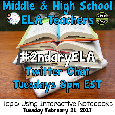 Join secondary English Language Arts teachers Tuesday evenings at 8 pm EST on Twitter. This week's chat will be about interactive notebooks and hands-on learning.