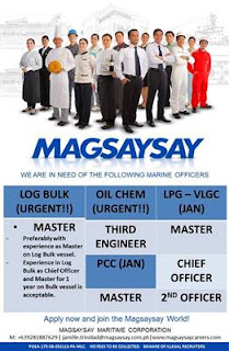 Available Maritime Corporation opening urgent hiring Filipino seaman crew join on Log Bulk, LPG, VLGC, Oil Chemical Tanker Ship deployment Dec-January 2019.