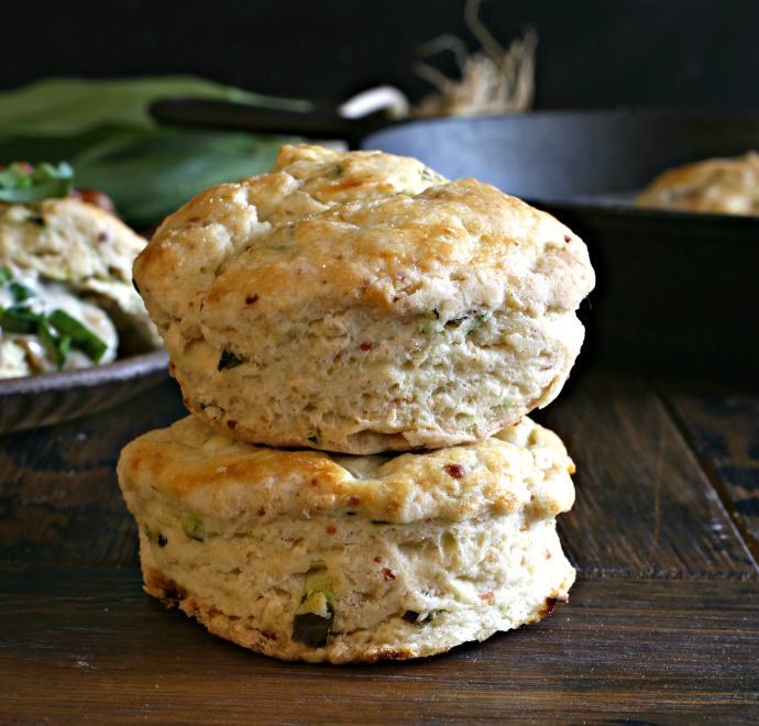 Buttermilk biscuits and sweet onion gravy flavored with wild garlic ramps.