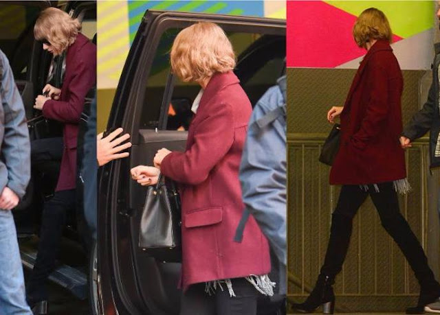 Taylor Swift in Red Wool Coat