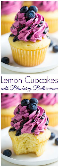 Lemon Cupcakes with Fresh Blueberry Buttercream