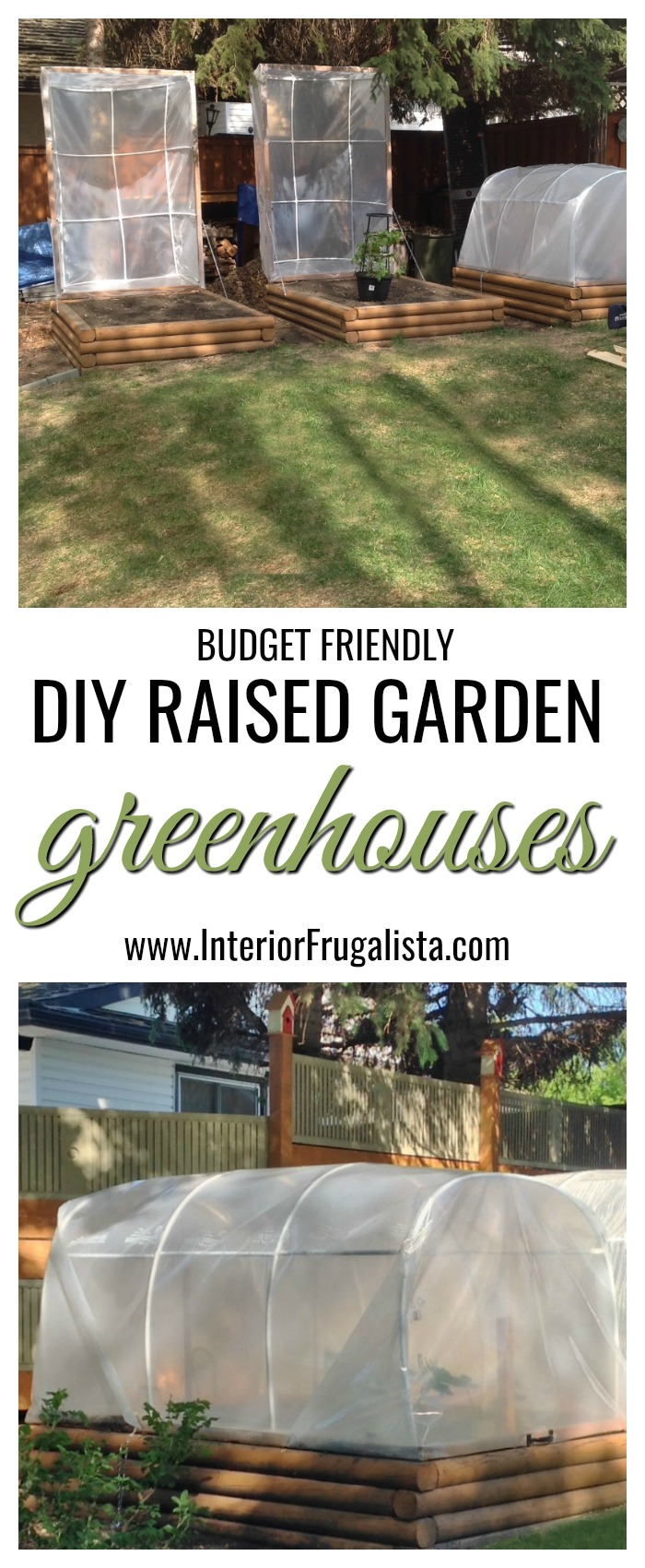 Here is a clever idea for budget-friendly DIY raised garden greenhouses to extend the growing season when you live in a Zone 3 plant hardiness zone. #diygreenhouse #raisedgardengreenhouse #minigreenhouse