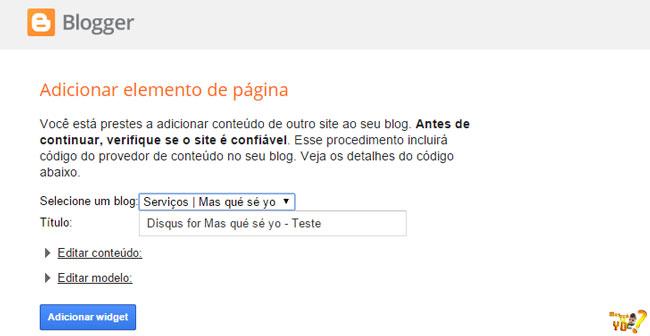 Adicionar elemento de página: Selecione um blog; Título; Adicionar widget.