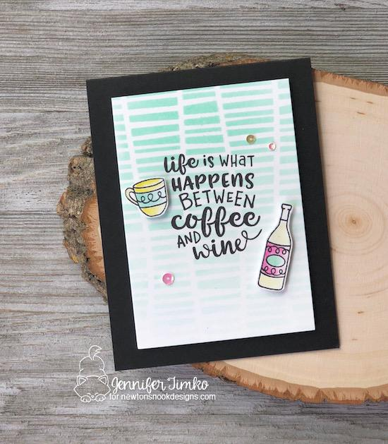 Coffee & Wine card by Jennifer Timko | Coffee & Wine Stamp Set by Newton's Nook Designs #newtonsnook #handmade #winestamps