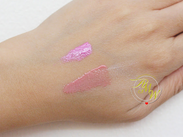a swatch photo of NYX Butter Gloss Review in Creme Brulee and Merengue.