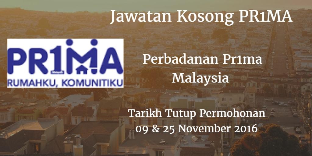 Jawatan Kosong PR1MA 09 & 25 November 2016