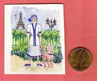 dollhouse, 1:12 scale, miniature painting, artist Jillian Crider, original art, Paris, Art Deco, fashoin lady with poodle,