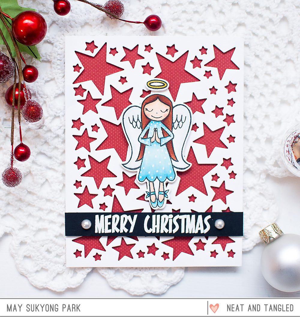 video christmas card with negative diecut background