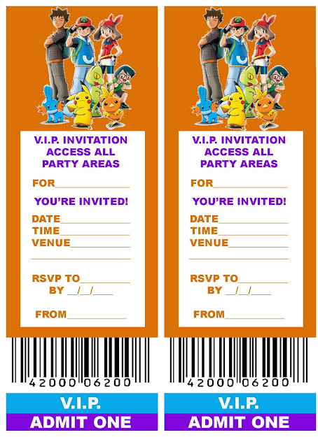 Pokemon Coloring Pages Free Printable Vip Ticket Style Birthday Party  Invitation