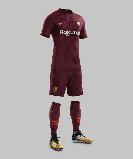 9476f0be5bf Shorts and socks in the same color as the shirt get used to complete the  smart look of the Barcelona 17-18 third kit.