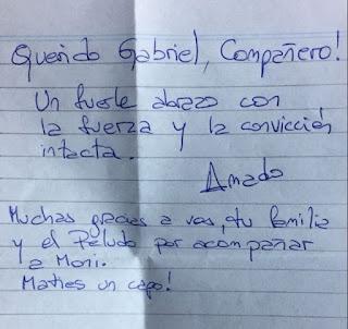 El ex vicepresidente dedicó unas palabras de puño y letra al ex vicegobernador de la provincia de Buenos Aires