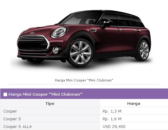Spesifikasi Mini Cooper Mini Clubman