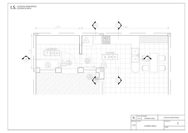 Plano de replanteo de arquitectura de locales sanitarios: cocina y lavadero