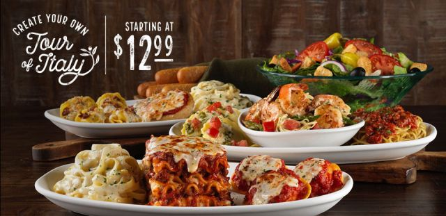 the create your own tour of italy menu is back at olive garden for a limited time this summer - Olive Garden Lunch Time