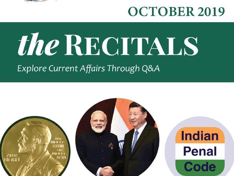 Recitals Current Affairs October 2019 Que Ans