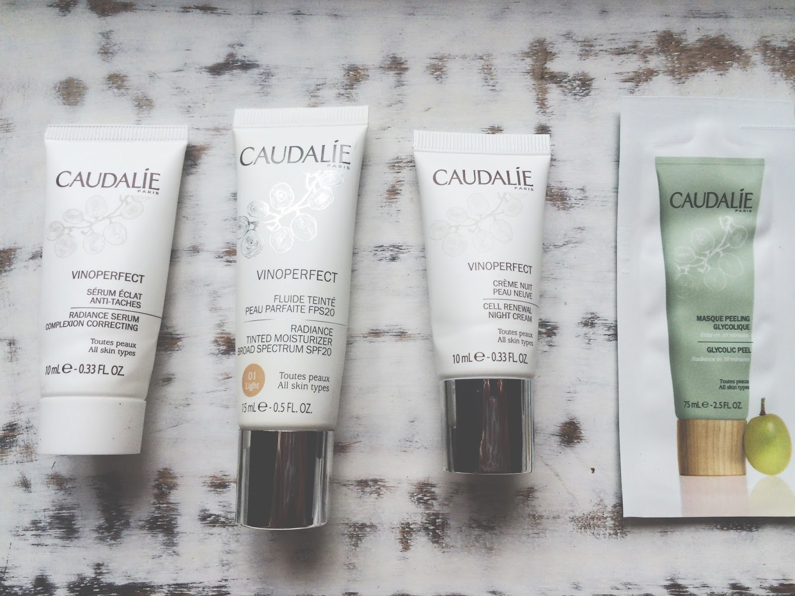 The contents of my Caudalie Vinoperfect box