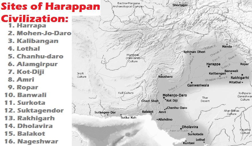 Sites of Harappan Civilization or Indus Valley Civilization