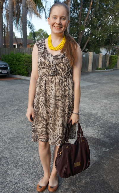 animal print dress in the office with bold yellow statement necklace and macrc jacobs fran bag | away from blue
