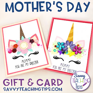 Unicorn card and craft for Mother's Day for kids.