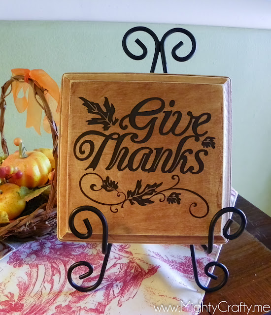 Give Thanks Plaque - www.MightyCrafty.me