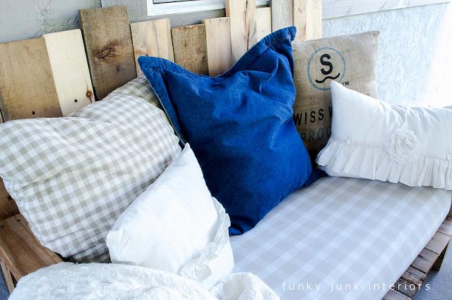 pallet sofa oversized pillows patio furniture Funky Junk Interiors