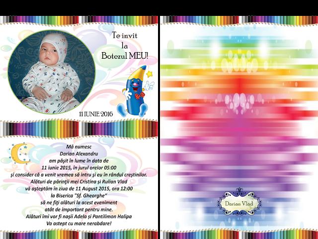 set marturii botez creioane colorate