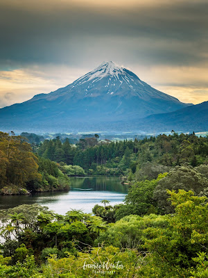 New Zealand, NZ, Taranaki, Mt Taranaki, Sunset, Lake Mangamahoe