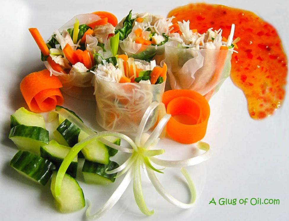 Vietnamese Chicken Spring Rolls with Pickled Cucumber