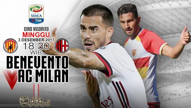 Prediksi Bola : Benevento Vs AC Milan , Minggu 03 Desember 2017 Pukul 18.30 WIB