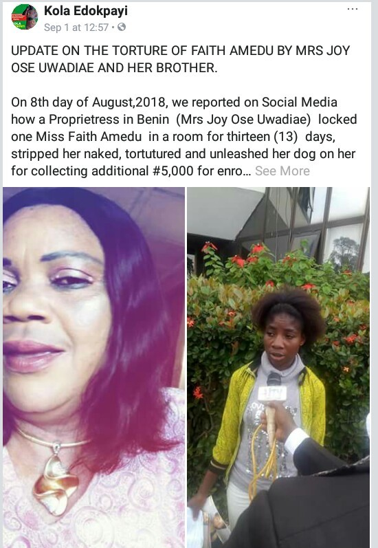Mrs Joy Ose Uwadiae, the proprietress of Ben Victoria Academy was accused of unleashing her dog on her staff,  Miss Faith Amedu,26, for collecting practical fees from students without her consent.