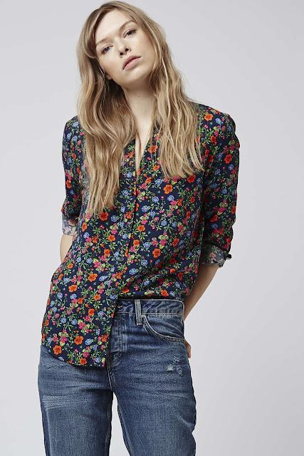 topshop ditsy print shirt,