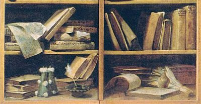 Giuseppe Maria Crespi, 'Bookshelf with Music Writings', 1725-30 (detail)