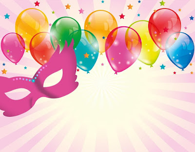 balloons and a masquerade mask against a pink background