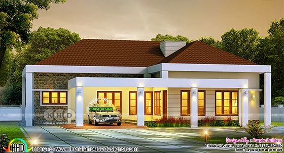 Sloping roof bungalow night view