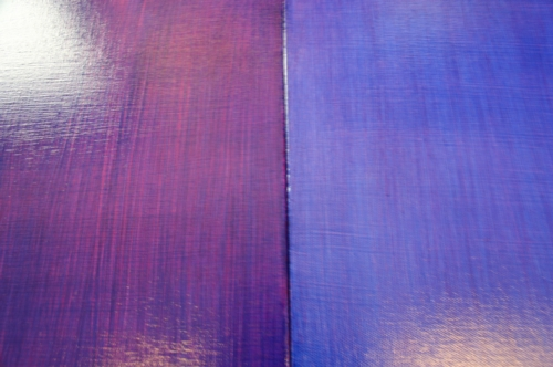 Left canvas is the BOTTOM canvas and right canvas is the TOP canvas.  Same colors used put in opposite sequences for end results.