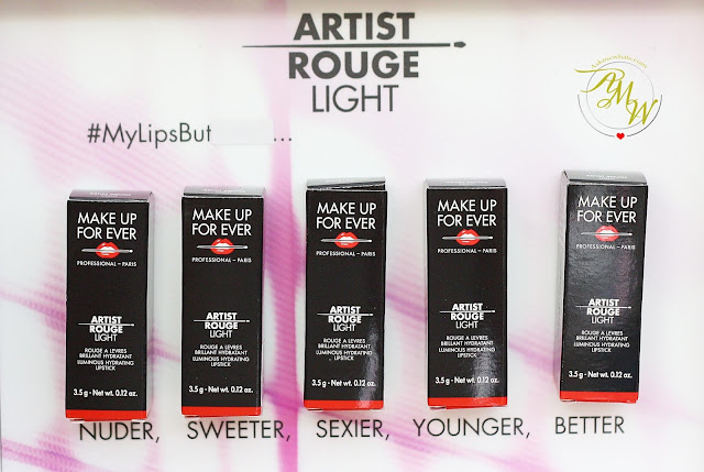 a photo of Make Up For Ever Artist Rouge Light Review in shades L103 Chestnut, L202 Soft Pink, L301 Apricot, L400 Red and L500 Deep Purple.
